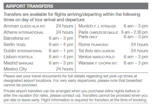 2017 Religious Travel Airport Transfer Times